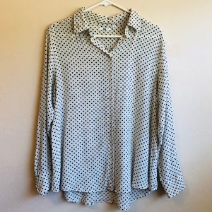 Uniqlo 100% Silk Polka Dot Button Down Shirt
